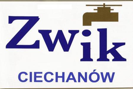 Logo ZWiK Ciechanów, kompozycja elementów: rysunek kranu i napis ZWiK Ciechanów