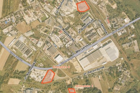Mapa dzielnicy przemysłowej z zaznaczonymi kompleksami pod inwestycje