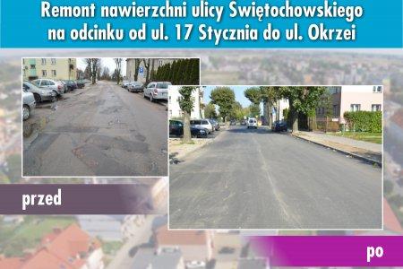 Kompozycja zdjęć ilustrująca jak zmieniła się część ulicy Świętochowskiego. Na fotografii po lewej ulica z połataną nawierzchnią, po prawej nowa i równa