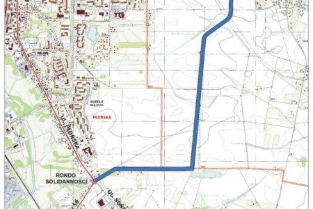 Mapa z zaznaczonym przebiegiem drogi, której budowa niebawem się zacznie