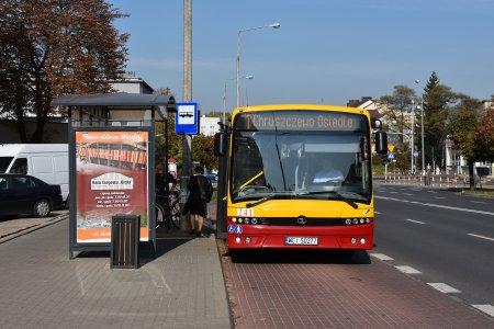 Autobus komunikacji miejskiej stojący na przystanku
