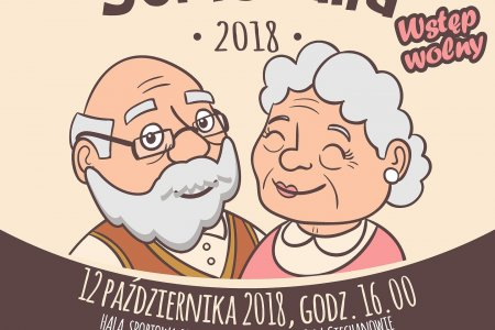Plakat Senioraliów 2018. Zawiera informacje organizacyjne oraz rysunek dwojga uśmiechniętych starszych ludzi