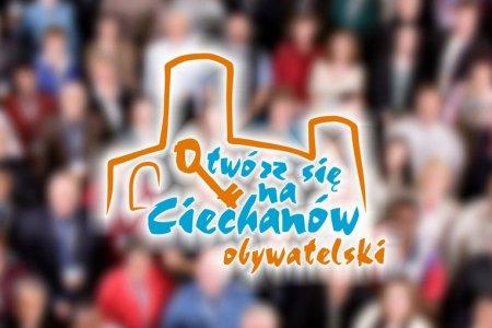 Grafika z logo Ciechanowa z konturem Zamku Książąt Mazowieckich i klucza z napisem: Otwórz się na Ciechanów obywatelski