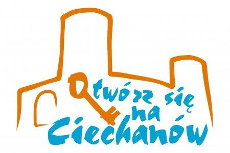 Logo Ciechanowa. Zarys Zamku Książąt Mazowieckich z wpisanym w rysunek Otwórz się na Ciechanów. Litera