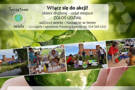 Plakat zachęcający do udziału w akcji. U góry napis: Włącz się do akcji. Niżej zdjęcia młodzieży w czasie poprzednich akcji