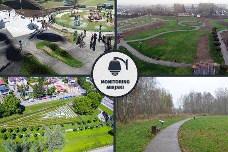 Składanka czterech zdjęć, które są objęte monitoringiem wizyjnym. Zdjęcia pochodzą ze skateparku, nowego parku na Jeziorku, zielonego labiryntu i ścieżki edukacyjnej na zamkowych błoniach. Pośrodku, na wewnętrznych rogach zdjęć umieszczono w kółku rysunek kamery wizyjnej z podpisem: Monitoring wizyjny
