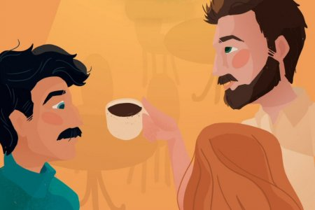 Grafika, na której narysowano dróch mężczyzn i kobietę przy kawiarnianym stoliku. Na stoliku stoi filiżanka kawy. Nad nimi lampa z ciepłym światłem. U góry napis:
