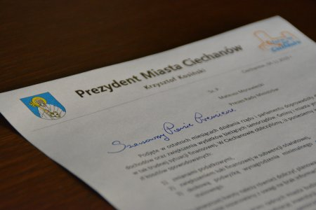 Kartka z fragmentem listu, z nagłówkiem: Szanowny Panie Premierze