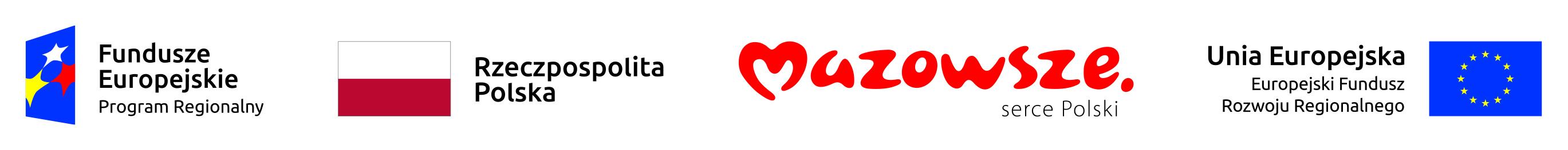 Zestaw logotypów współtwórców akcji: Fundusz Europejski Program Regionalny, Rzeczpospolita Polska, Województwo Mazowieckie i Unia Europejska Europejski Fundusz Rozwoju Regionalnego